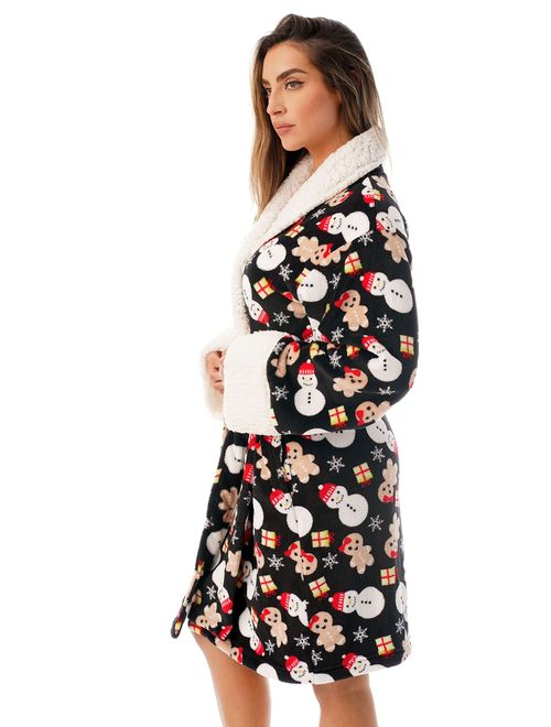Just Love Sherpa Trim Plush Robe for Women