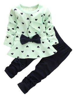 Baby Girl Clothes Infant Outfits Set 2 Pieces with Long Sleeved Tops + Pants