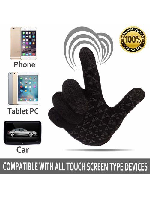Achiou Touchscreen Warm Thermal Soft Winter Knit Gloves for Women Men
