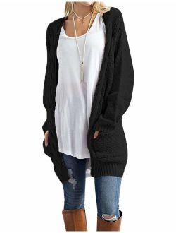 Traleubie Open Front Long Sleeve Boho Boyfriend Knit Chunky Cardigan Sweater