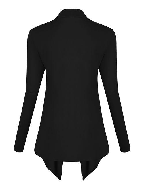 Urban CoCo Women's Drape Front Open Cardigan Long Sleeve Irregular Hem