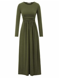 Women Long Sleeve Casual Loose Ruched Long Maxi Dress With Pockets