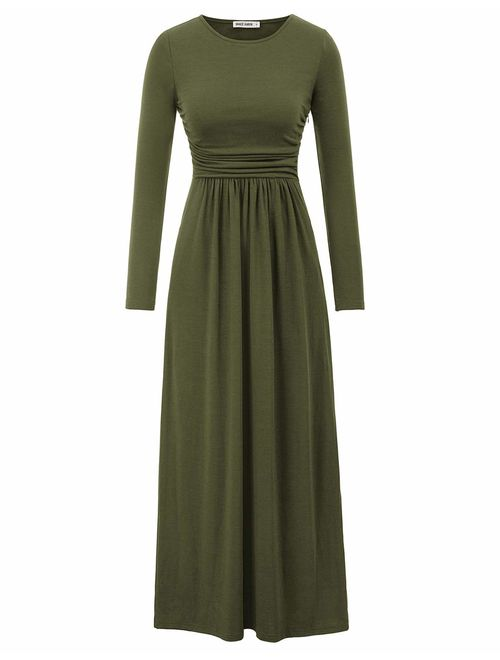 GRACE KARIN Women Long Sleeve Casual Loose Ruched Long Maxi Dress with Pockets