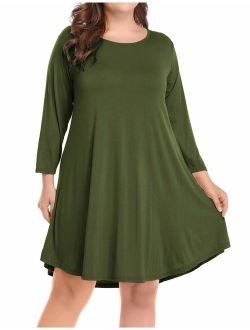 BELAROI Women's Casual Flare Plain Simple 3/4 Sleeve T-Shirt Loose Dress