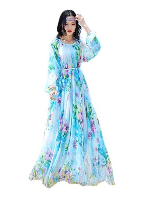 MedeShe Chiffon Floral Holiday Beach Bridesmaid Maxi Dress Sundress