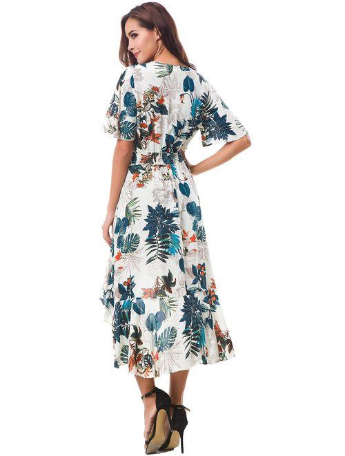Kormei Womens Short Sleeve Floral High Low V-Neck Flowy Party Long Maxi Dress