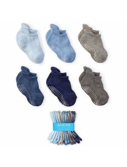 LA Active Grip Ankle Socks - 6 Pairs - Baby Toddler Infant Newborn Kids Boys Girls Non Slip/Anti Skid