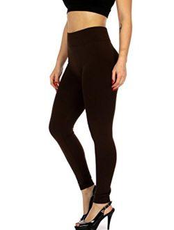 Premium Women's Fleece Lined High Waist Compression Leggings - Regular and Plus Size - 20+ Colors