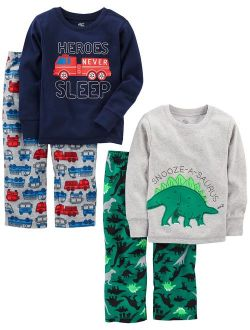 Little Kid And Toddler Boys' 4-piece Pajama Set