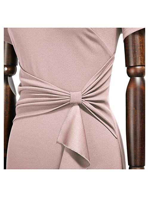 AISIZE Women 50s Vintage Ruffle Peplum Cocktail Pencil Knee Dress
