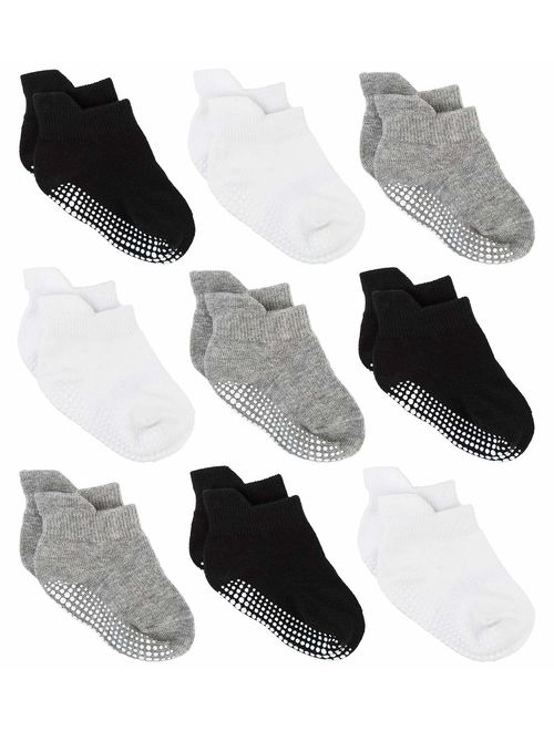 12 Pairs Anti Slip Baby Ankle Socks with Non Skid Grips for Toddler Kids Boys Girls