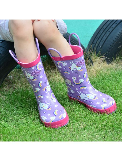 Lucas Rain Boots with Easy-On Handles in Cute Patterns for Toddlers and Kids Andy