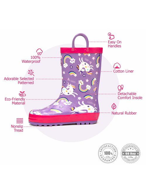 Outee Toddler Kids Rain Boots Rubber Cute Printed with Easy-On Handles