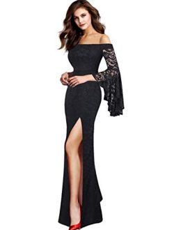 VFSHOW Off Shoulder Bell Sleeve Floral Print Thigh High Slit Formal Evening Party Maxi Dress