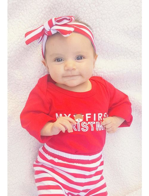 Christmas 4Pcs Outfit Set Baby Girls Boys My First Christmas Rompers