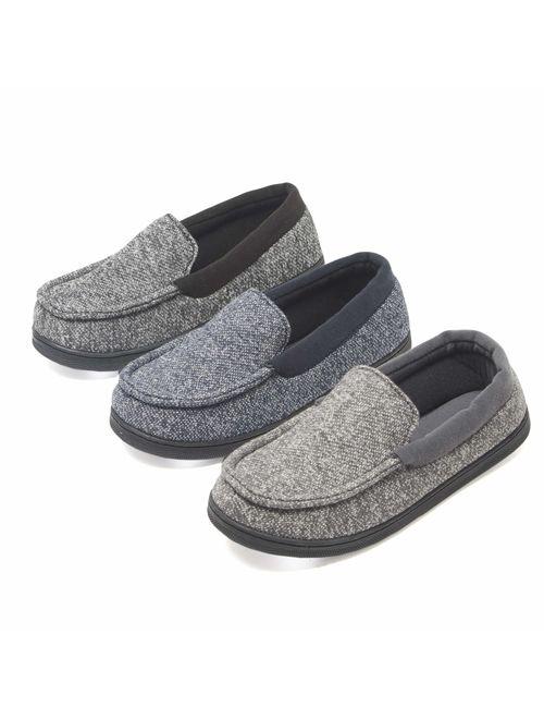 Hanes Men/'S Moccasin Slipper House Shoe With Indoor Outdoor Memory Foam Sole Fre