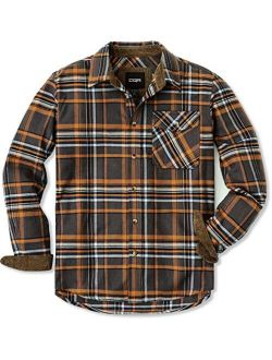 Cotton Long Sleeved Button Up Plaid All Brushed Flannel Shirt