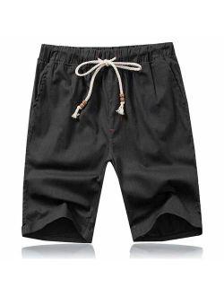 Mens Shorts Casual Drawstring Summer Beach Shorts With Elastic Waist And Pockets