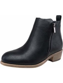 JEOSSY Women's Ankle Boots Thick Heel Low Heeled Bootie for Women