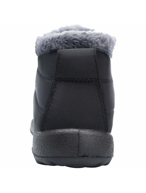 L-RUN Womens Mens Snow Boots Fur Lined Winter Snow Booties Outdoor Footwear