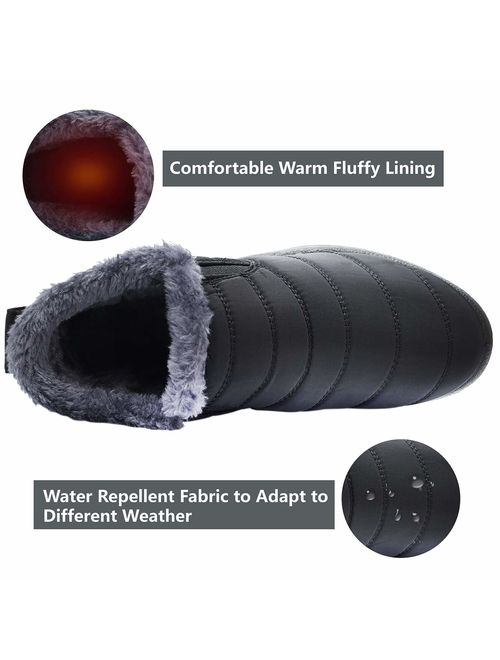 Scurtain Womens and Men Snow Boots Waterproof Ankle Anti-Skid Winter Fur Booties for Couple
