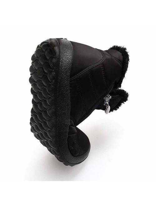 DUOYANGJIASHA Women Snow Boots for Winter Fur Waterproof Ankle with Lace Up Slip On Booties Outdoor Comfortable Shoes
