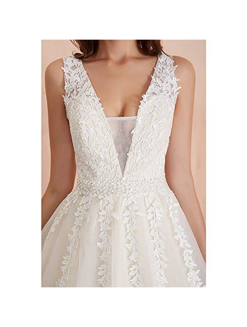 Abaowedding Women's Wedding Dress for Bride Lace Applique Evening Dress V Neck Straps Ball Gowns