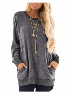 GADEWAKE Long Sleeve Round Neck Pocket T Shirts Blouses Sweatshirts
