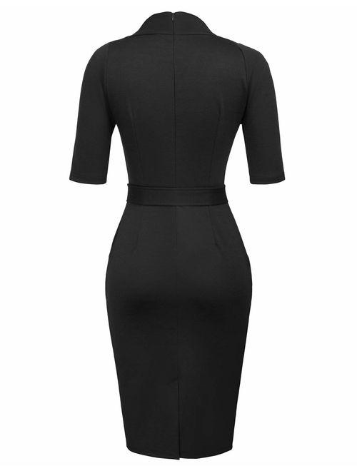 GRACE KARIN Women Vintage Short Sleeve Slim Fit Belted Business Pencil Dress