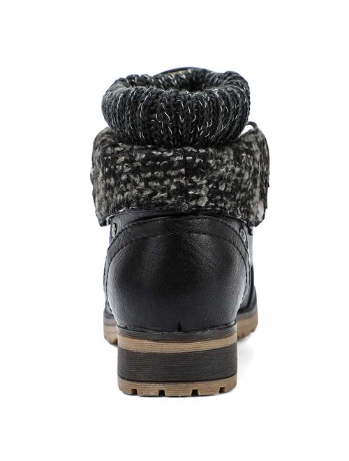 Moda Chics Women's Combat Style Lace-up Ankle Booties with Fur