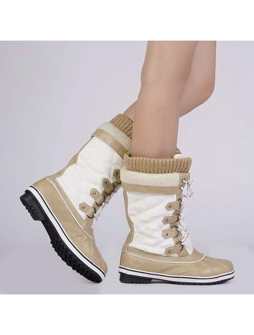 DREAM PAIRS Women's Mid-Calf Winter Snow Boots