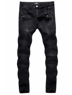 Slim Fit Biker Jeans, Men's Super Comfy Stretch Skinny Biker Denim Jeans Pants