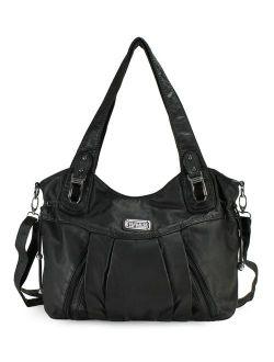 Satchel Handbag For Women, Ultra Soft Washed Vegan Leather Crossbody Bag, Shoulder Bag, Tote Purse, H1472