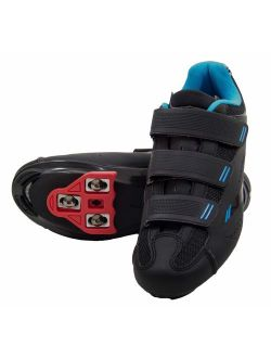 Tommaso Pista - Holiday Special Pricing - Women's Spin Class Ready Cycling Shoe Bundle with Compatible Cleat, Look Delta, SPD - Black, Blue, Pink, White