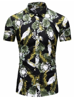 LEFTGU Men's Slim fit Floral Printed Beach Hawaiian Button-Down Dress Shirt