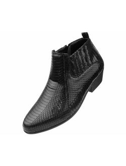 Bolano The Original Men's Exotic Demi Dress Boot in Faux Snake Print Pattern, Style Adder
