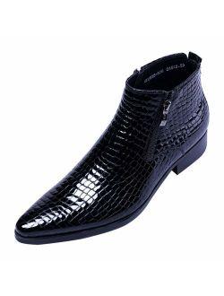 SANTIMON Men's Ankle Patent Leather Fashion Plaid Zipper Pointed Toe Casual Boots