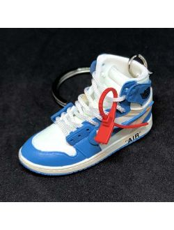 1 I High Retro Off White Unc Blue Og Sneakers Shoes 3d Keychain Figure ...