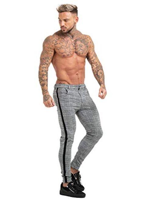 GINGTTO Mens Chinos Slim Fit Stretch Flat-Front Skinny Dress Pants Grey Plaid
