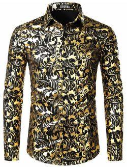 Men's Luxury Paisley Shiny Printed Stylish Slim Fit Button Down Dress Shirt