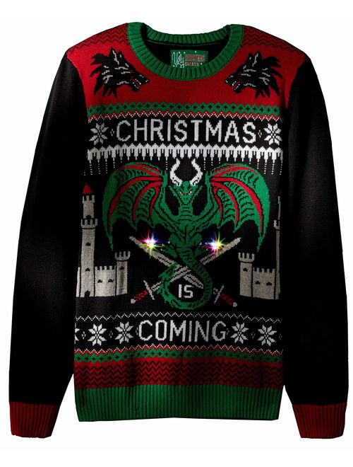 Ugly Christmas Sweater Company Men's Assorted Light-up Xmas Crew Neck Sweaters with Multi-Colored Led Flashing Lights