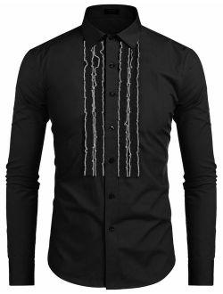 Men's Tuxedo Shirt Slim Fit Ruffle Ruche Frill Dress Shirt Wedding Party Prom Dinner Formal Button Down Shirt