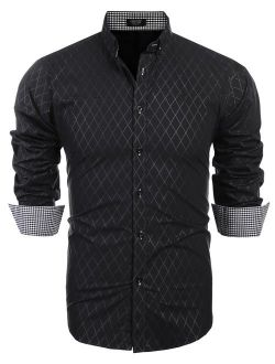 Men's Slim Fit Dress Shirt Long Sleeve Wrinkle Free Business Plaid Button Down Collar Shirt