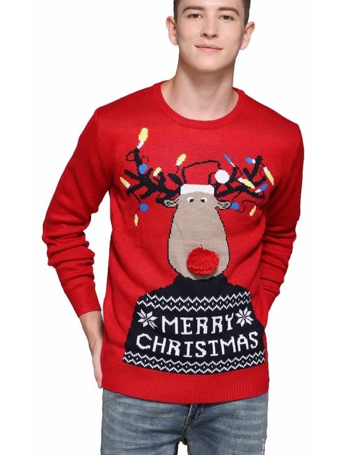 Men's Christmas Rudolph Reindeer Santa Holiday Knitted Sweater Ugly Pullover