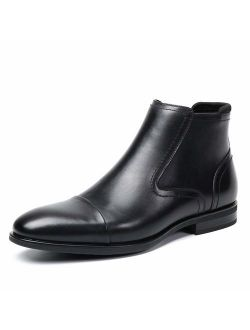 Cestfini Men Leather Chelsea Boots with Zipper Dress Boots with Cap Toe for Men Outdoor Slip On Ankle Boots