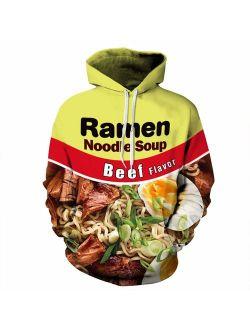 Keasmto 3D Ramen Chicken Noodle Soup Hoodie Beef Sweatshirt for Men Women Cotton Cute
