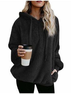 Yanekop Womens Sherpa Pullover Fuzzy Fleece Sweatshirt Oversized Hoodie with Pockets