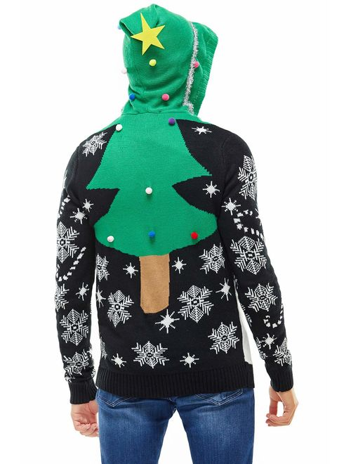 Unisex Ugly Men's Christmas Sweater Hoodie Funny Tacky Christmas Tree Reindeer Rudolph Elf Ugly Pullover