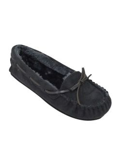 Blueberry Womens Faux Soft Suede Fur Lined Moccasin House Slippers Indoor Outdoor