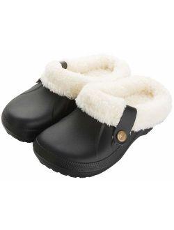 Waterproof Slippers Women Men Fur Lined Clogs Winter Garden Shoes Warm House Slippers Indoor Outdoor Mules
